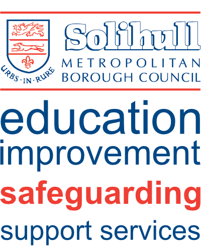 Solihull Council logo with education improvement, safeguarding, support services